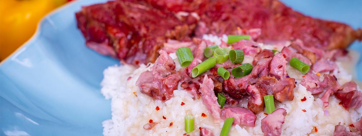 Pork Neck Bones with Gravy and Rice